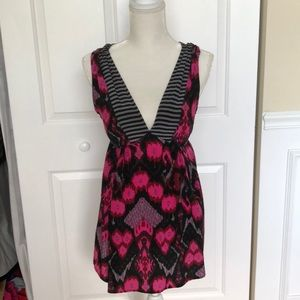 Plenty by Tracy Reese pink and black ikat silk top